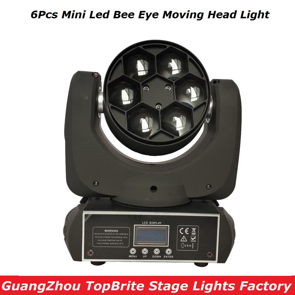 2017 High Quality 6*15W RGBW 4IN1 LED Mini Bee Eye Beam Light DMX512 Moving Head Light For Stage Dj Disco Laser Light Projector high quality mini 10w led spot moving head 7 gobo stage light disco dj dmx512 rgbw stage effect projector stereotypes packaged