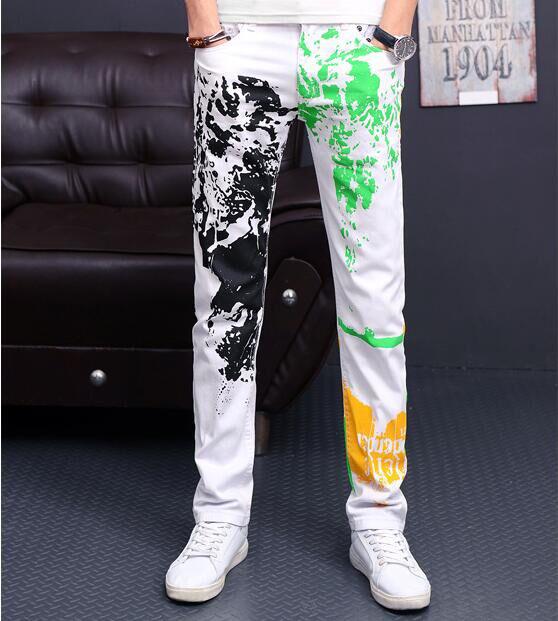 2016 de Moda de Nova Mens Cor Priting Em Linha Reta Calça Casual Esticar e Tecido de Algodão Slim Fit Cor Pintura Estilo de Rua Quente venda