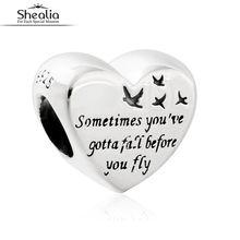 2016 Otoño Corazón de Libertad Shealia Originales 925 Plata Esterlina Encanta Granos Joyería Adapta A Pandora Pulseras Del Encanto Para Las Mujeres