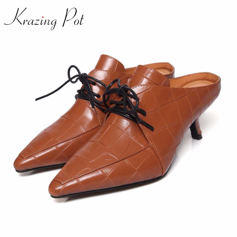Krazing Pot fashion brand spring shoes vintage bowtie lace up pointed toe stiletto high heels women pumps beauty lady mules L28 new 2017 spring summer women shoes pointed toe high quality brand fashion womens flats ladies plus size 41 sweet flock t179