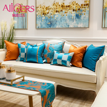 Avigers Orange Blue Plaid Patchwork Cushion Covers Home Decorative Pillow Cases 30 x 50 45 x 45 50 x 50 60 x 60 Pillowcases