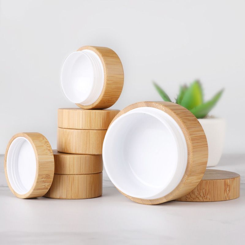 5ml 10ml 30ml Natural Bamboo Refillable Bottle Cosmetics Jar Box Makeup Cream Storage Pot Container Round Bottle Portable