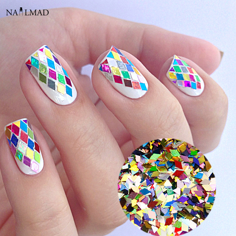 1Box 2*4mm Rhombus Paillette Nail Sequins Sparkling
