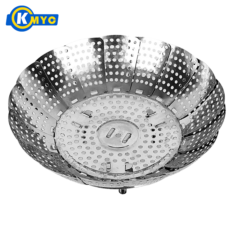 KMYC Stainless Steel Silver Folding Collapsible Vegetable Food Fish Steamer Plate Tray Pastry Bun Steaming Stocked Cooking Tools