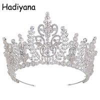 Hadiyana Top Quality Wedding Bridal Headband Crown Flower Cubic Zirconia Tiara 2018 Girls White Plated Zircon Tiara Crown HG6040