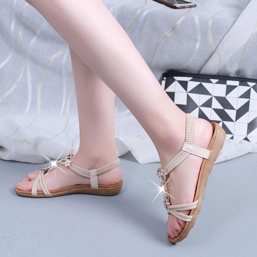 Women Flat Shoes Beaded Bohemia Leisure Lady Sandals Peep-Toe Outdoor Sandals Comfort Sandals Summer Flip Flops 2017 Hot sale covoyyar 2018 fringe women sandals vintage tassel lady flip flops summer back zip flat women shoes plus size 40 wss765