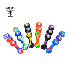 HORNET Tanghulu Shape FDA Silicone Smoking Pipe 155MM With Three Metal Bowls Unbreakable Silicone Tobacco Pipe Weed Pipe