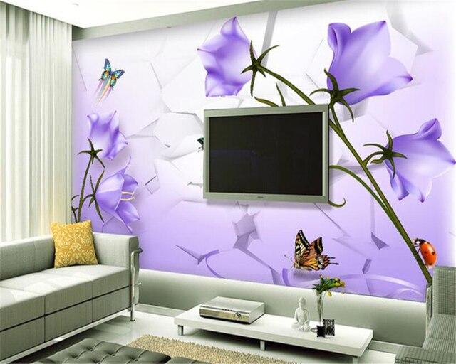 Beibehang papel de parede Mooie droom paars bloemen vlinders 3 TV ...