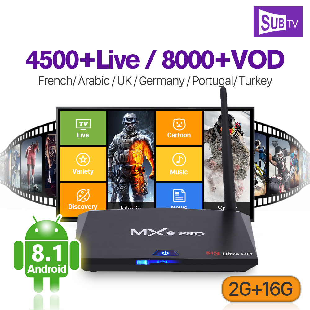 Box Android 8.1 MX9 Pro Support BT Dual-Band WiFi 2G 16G Subscription IP TV Code 1 Year Full HD Live SUBTV France Arabic Italy цена и фото