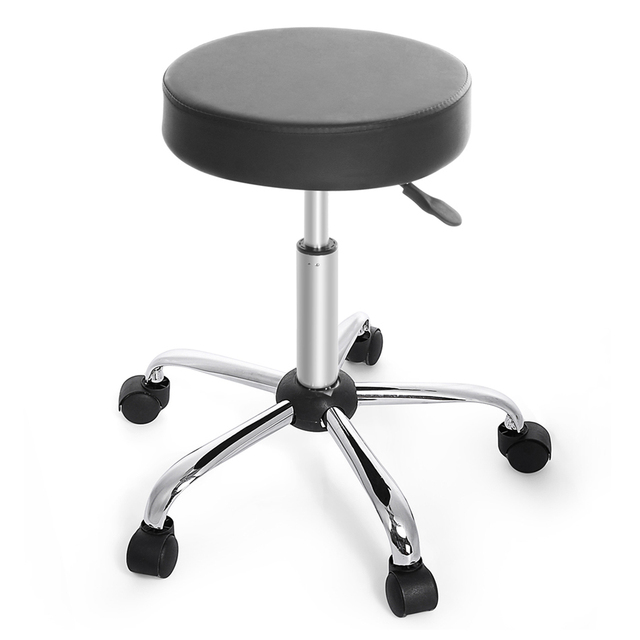Chair Round Barstool Adjule High Wheels Bar Stool Modern Black