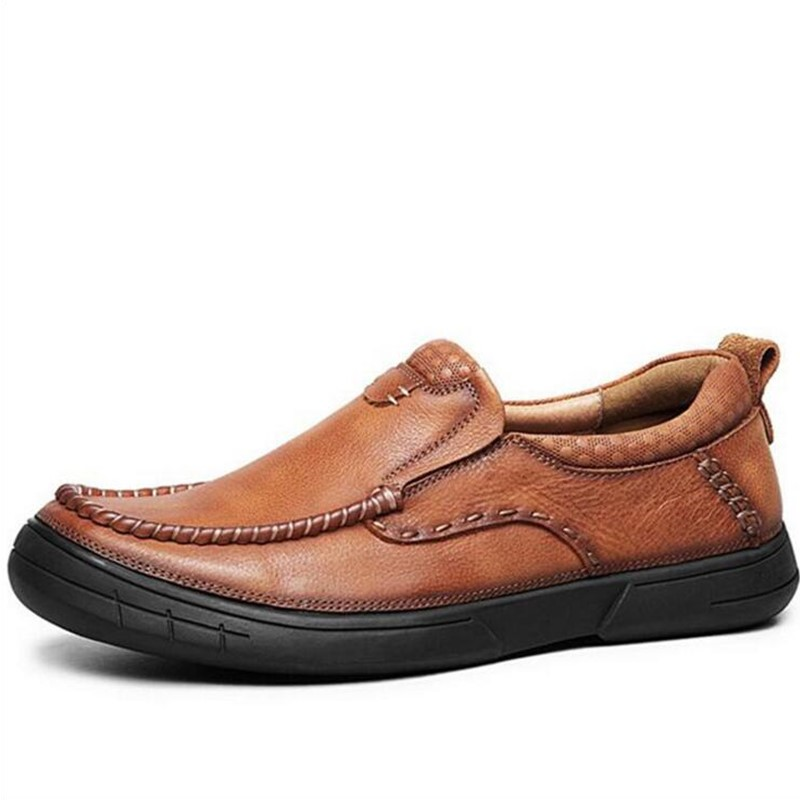 khakislip khaki Light up Moda Sola on Dos Não Qualidade Mocassins deslizamento Grossa Casuais Homens light Sapatos lace Brown Marca on Alta lace Brown Masculinos Genuína De Calçados Couro slip up wR1xvqST