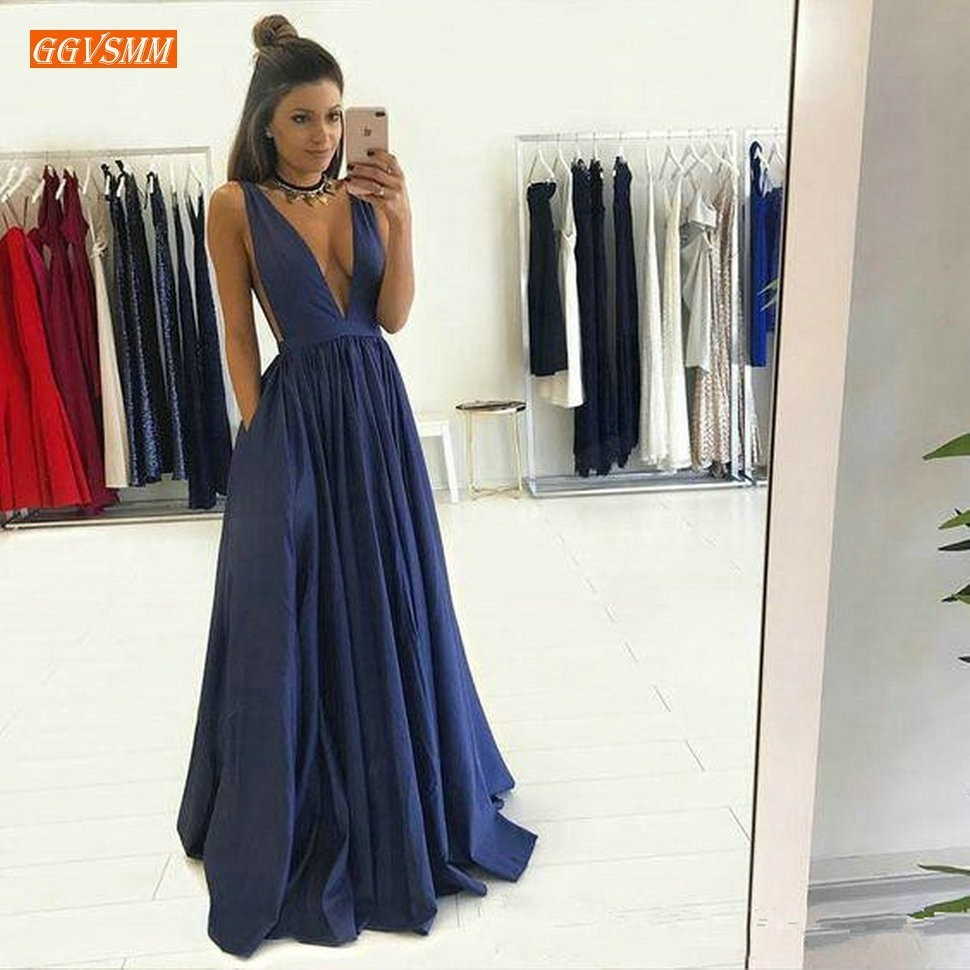 Sexy Deep V Neck Sleeveless A Line Evening Gown 2019 Navy Blue Long Formal Dress Floor
