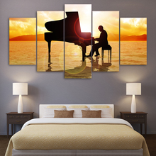 Canvas Printed Poster Home Decor 5 Pieces Prince Plays Music Piano In Sunset Beach Sea Painting Modular Wall Art Pictures Frame