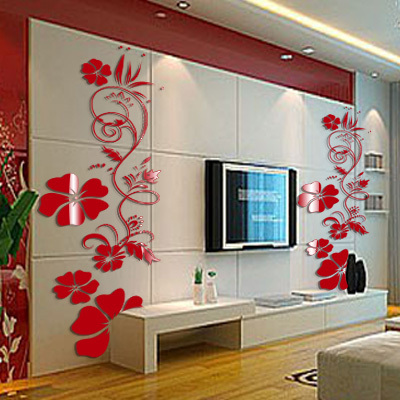 gros ikea style acrylique rose miroir wall sticker d coration murale papier peint d cor la. Black Bedroom Furniture Sets. Home Design Ideas