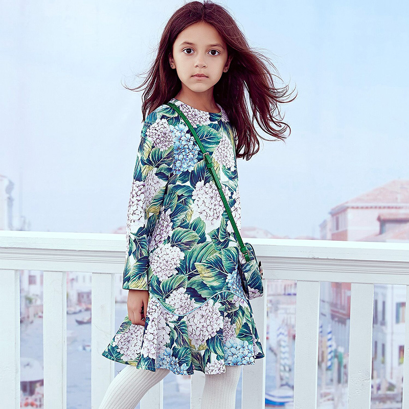 Girls Party Dresses 2018 Brand Toddler Dress Fashion Princess Costume for Kids Clothes Flower Printed Robe Enfant Children Dress