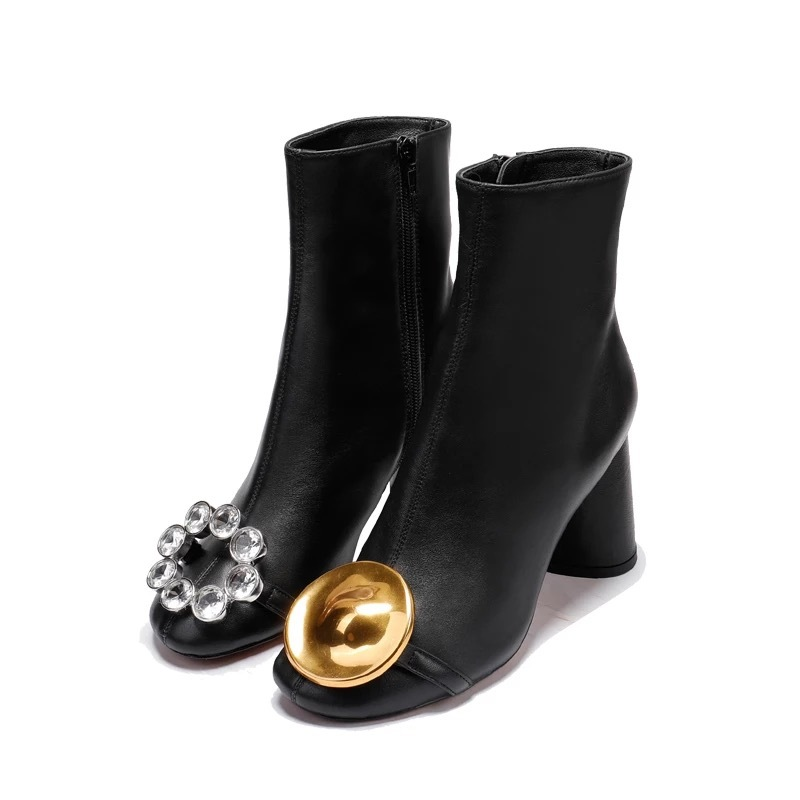 Genuine Leather Lady's Thick Heels Water Drill Mandarin Duck Buckle Basic Boots Female Round Head Bare Boots 2018 New Trend big simulation mandarin duck a pair resin mandarin duck model about 29x15x16 5cm 1902