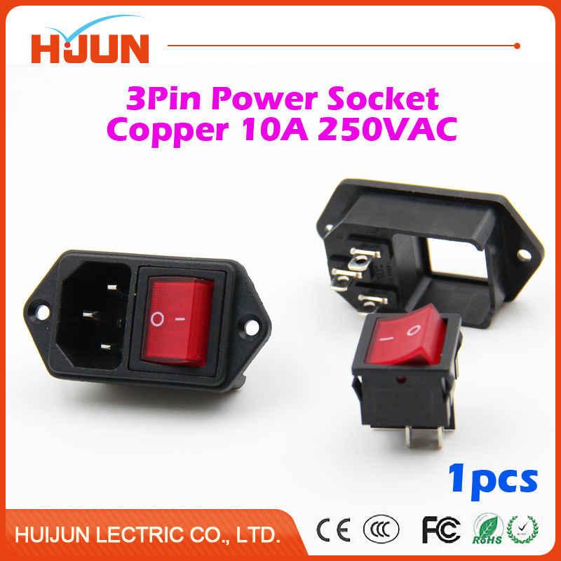 1 Cái Chất Lượng Cao 3 Pin An Toàn Nam Ổ Cắm Điện Đồng Lớn Switch Đỏ Đầu Vào Nối Cắm 10A 250VAC Máy Tính bộ máy