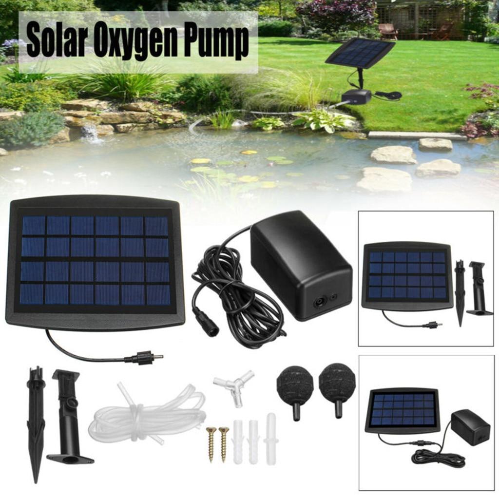 Solar// USB Rechargable Oxygenator Water Oxygen Pump Pond Aerator Air Pump