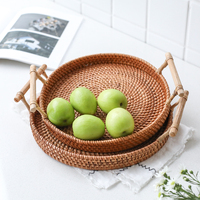 handmade rattan made fruit storage baskets Japan style desserts bread food containers s/l size sets retro double handgrips