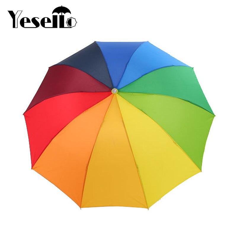Yesello Regenbogen im freien Drei-klapp Unbrella Sonnenschirm 8 Rippe Wind Beständig Für Frauen Tarvel