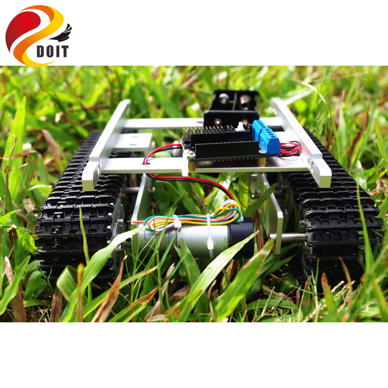 DOIT T100 RC Metal WiFi Robot Tank Car Chassis Controlled by Android iOS Phone with Nodemcu ESP8266 Motor Driven Board Kit DIY doit mini nodemcu esp8266 wifi development board based on esp 12f 4m bytes flash esp 12f lua iot diy rc free shipping