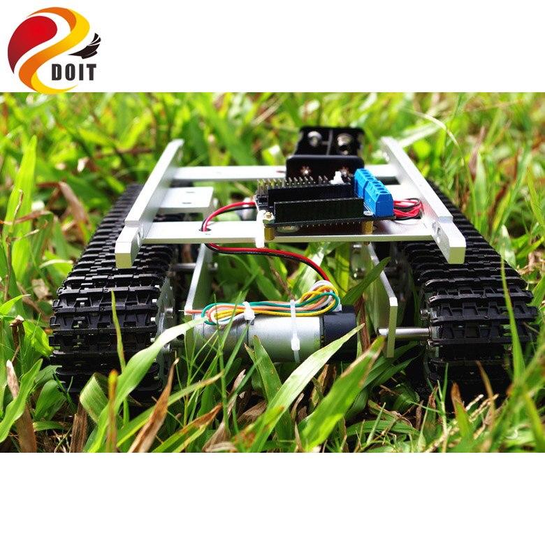 DOIT T100 RC métal WiFi Robot châssis de voiture de réservoir contrôlé par téléphone Android iOS avec Nodemcu ESP8266 moteur conduit Kit bricolage