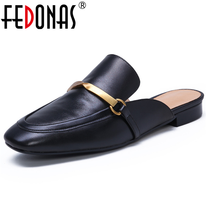 FEDONAS Spring Summer Brand Design Square Toe Shallow Low Heels Slingbacks Slip on Mules Basic Sandals Party Casual Shoes Woman