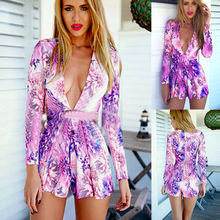 Women Playsuit Sexy V-Neck Romper Ladies Summer Long Sleeves Floral Printed Jumpsuit Beach Shorts Overalls Elegant цена в Москве и Питере