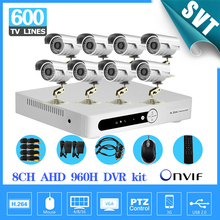 8 Channel AHD 960H DVR 600TVL Outdoor waterproof video Camera System 8CH CCTV surveillance System H