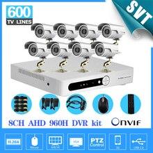 8 Channel AHD 960H DVR 600TVL Outdoor waterproof video Camera System 8CH CCTV surveillance System H.264 network DVR NVR SK-195