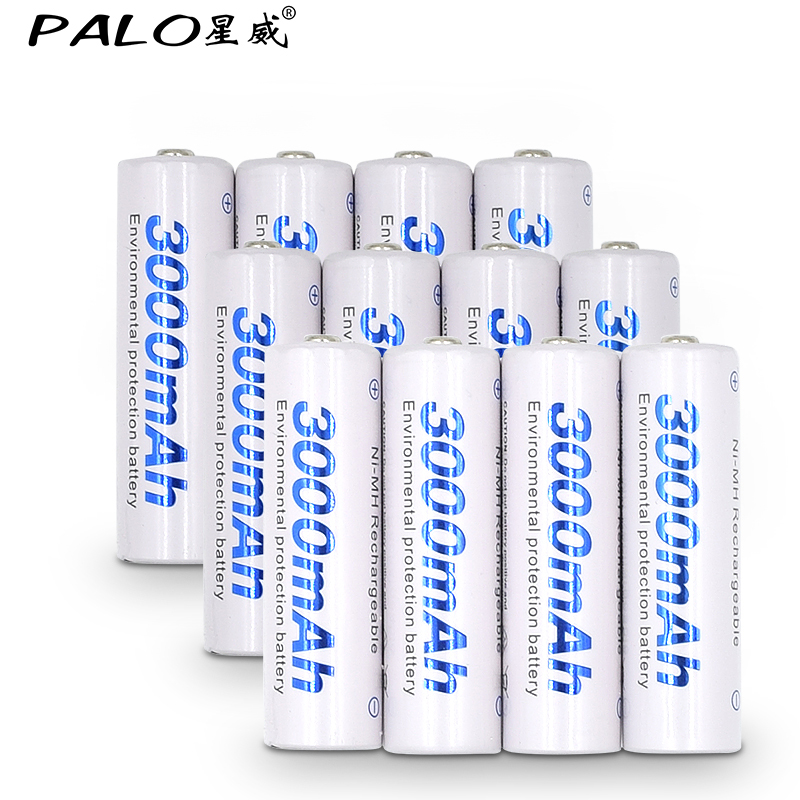 12 Pz Batteria AA Batterie 1.2 V aa 3000 mAh Ni-Mh Pre-carica Batteria Ricaricabile 2A per la Macchina Fotografica