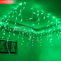8*0.5m 192led Green Willow Ice Led Light string curtain Holiday lights EU Plug + controller For Xmas Garland christmas fairy DA
