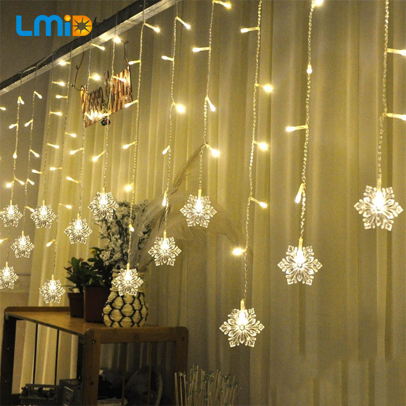 LMID Holiday Lighting 2M * 0.6M 60LED Snowflake Hjem Jul Dekorasjon Julelys Utendørs Vanntett Fairy Curtain String Lampe
