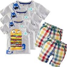 Cartoon Print Hamburg Baby Boy Kid Summer Short Sleeve T shirt Tops Clothes Plaid Pants Outfit Sets Clothes 1 6T