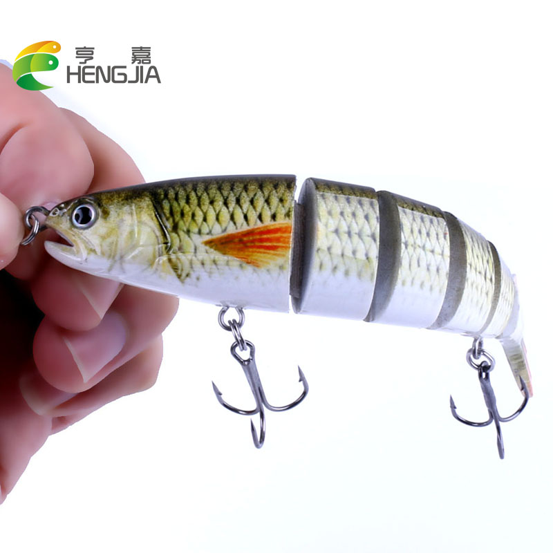 цена на HENGJIA 1PC Hard Fishing Lure 13CM 21.5g Multi Jointed 3D Eyes Lure 6 Segment Hard Lure Crankbait With 2 Hook Fishing Bait pesca