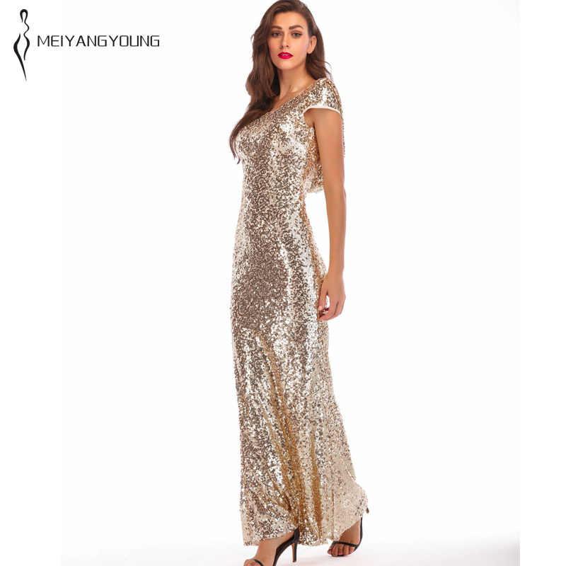 54138e56050 2019 Spring Women Golden Sparkly Prom Sequin Dress Elegant Brilliant Long  Mermaid Party Dress Plus Size