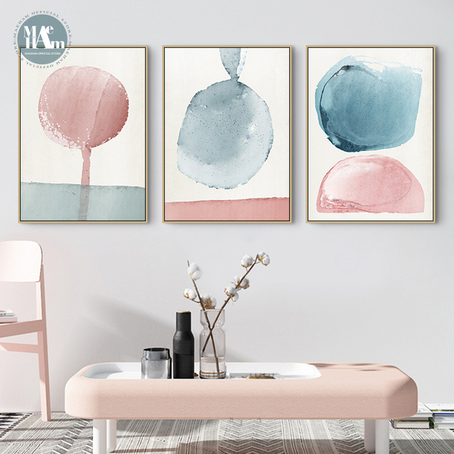 Nordic Abstract Geometric Watercolor block blue pink Wall Art Canvas Poster and Print Canvas for Living Room Morden Home Decor