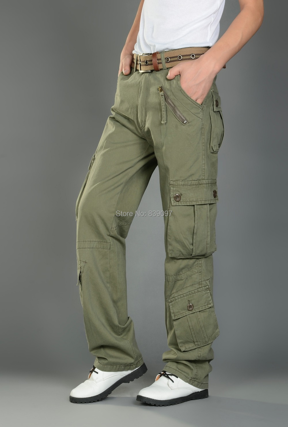 Online Shop 9 Pockets Mens Cargo Pants Grey & Army Green Cotton ...