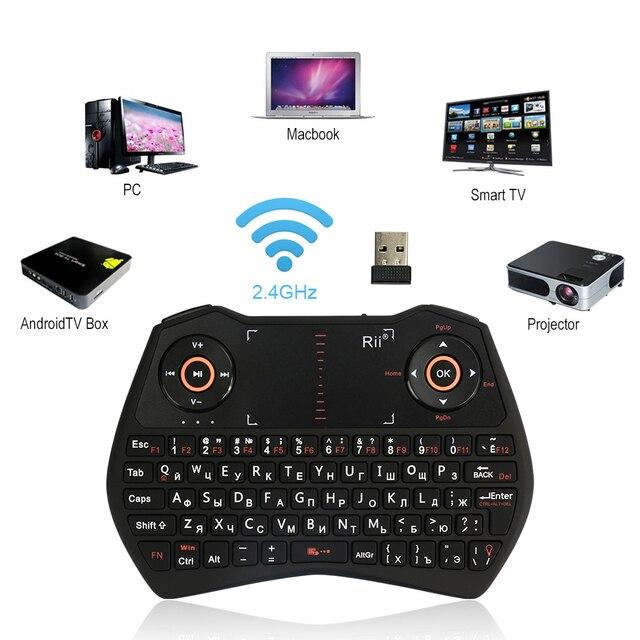 Подлинная Rii i28C 2.4 г Беспроводной клавиатура с тачпадом с подсветкой для Tablette ПК HTPC IP ТВ Умные телевизоры Google Android ТВ коробка палки и т. д.