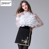 New arrival 2018 3d flower Spliced shirts perspectivity personalized organza long sleeve Transparent Sexy shirt female top B1090