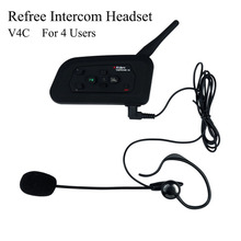 Vnetphone V4 1200M Waterproof Motorcycle Intercom Football Referee Headset Full Duplex Bluetooth Interphone earphone For 4 Users