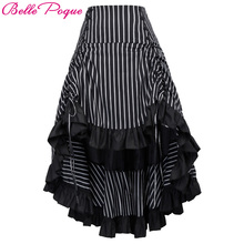 Belle Poque Steampunk Summer Autumn Women Sexy Striped Irregular Ladies Long Ruffled