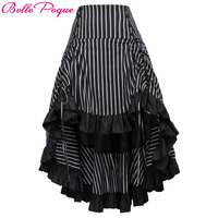 Belle Poque Steampunk Skirt Summer Autumn Women Sexy Striped Irregular Ladies Long Ruffled Vintage Victorian Gothic Punk Skirts