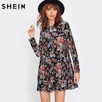 SHEIN Flower Print Swing Velvet Dress Fall Dresses 2017 Multicolor Long Sleeve Floral Dress Elegant Ladies