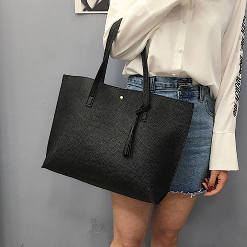 2019 Large Capacity Weekend Shopping Bag Women Pu Leather Handbag Elegant Messenger