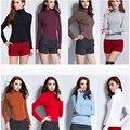 2016 Outono Inverno Magro Mulheres Camisa Moda Casual Camisa Mulheres Camisa Assentamento Gola Alta Manga Completo