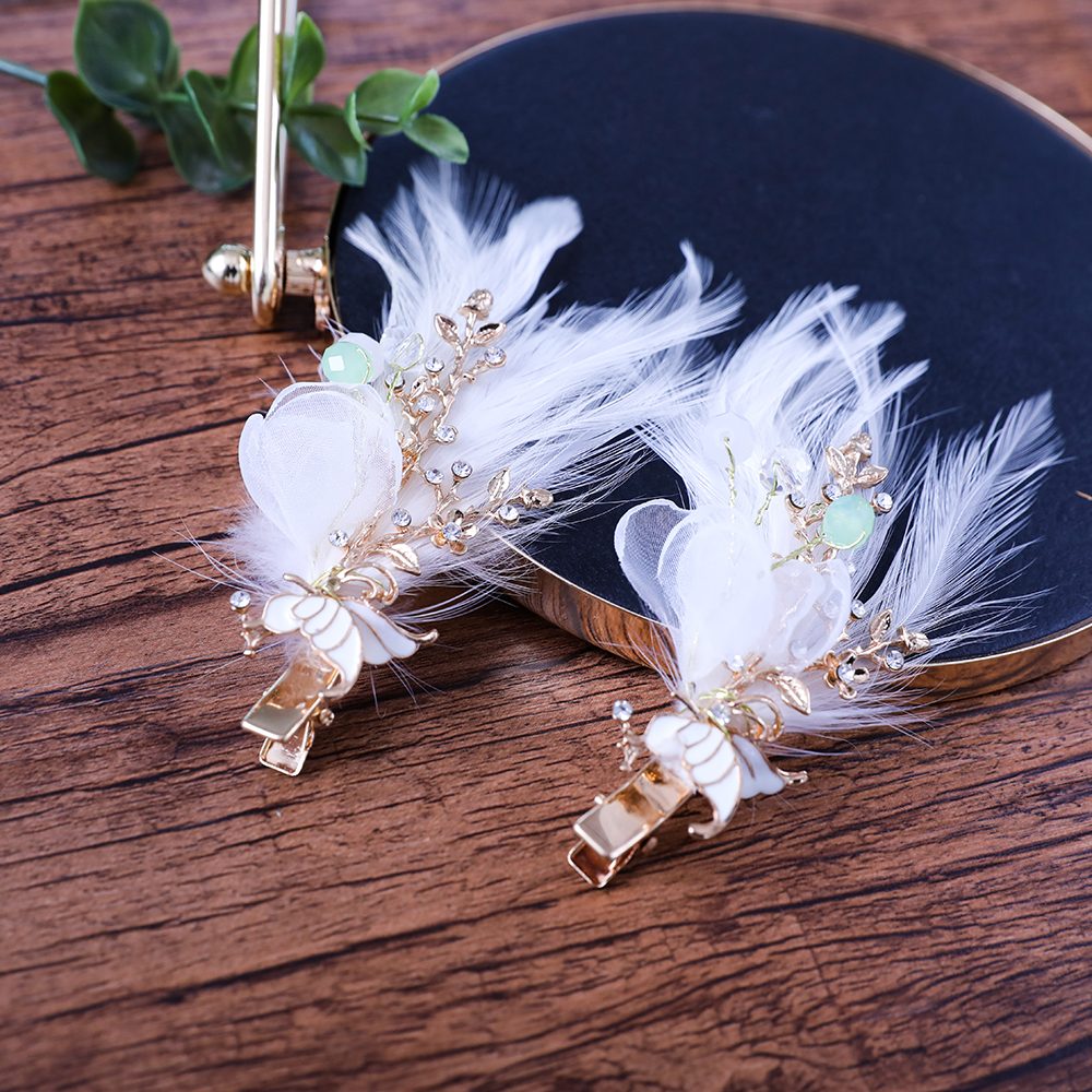 2PCS Artificial Feather Hair Clips Gold Color Plant Design Barrettes Hair Ornaments Bridal Wedding Headdress Hairgrips Hairwear