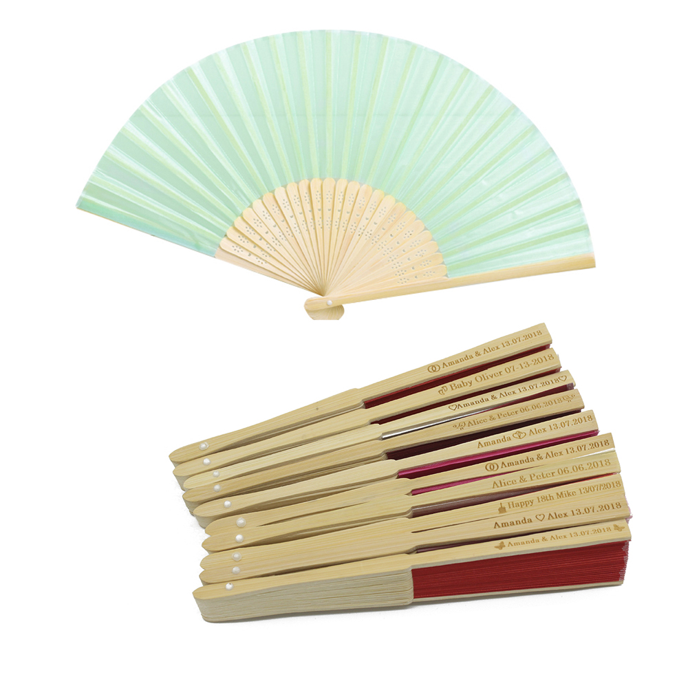 50pcs Personalized Engraved Ladies Bamboo Silk Fan Hand Folding Fans Outdoor Dancing Wedding Party Gift Favor