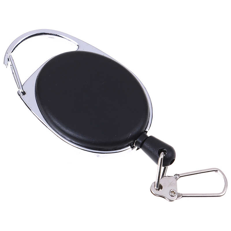 Recoil Extendable Metal Wire Key Chain Ring Belt Clip Pull Keyring Retracting ID Card Badge Holder hot sale