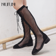 NIUFUNI Fashion Summer Knee High Boots Women Breathable Cross Tied Gladiator Sandals Botas Mujer Casual Lady Low Heel Boot Shoes недорого